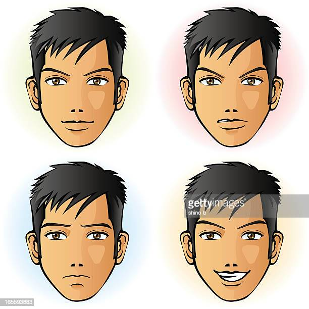 Man in four facial expression (Asian)