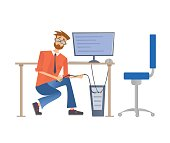 Man in glasses repairing a computer or connect it to the network. Service repair of computers. Vector illustration, isolated on white background.