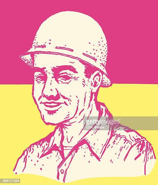 man in hard hat - army helmet stock illustrations, clip art, cartoons, & icons