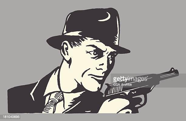 ilustraciones, imágenes clip art, dibujos animados e iconos de stock de man in hat sujeción de pistola - adulto
