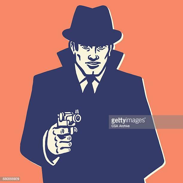 Man in Hat Pointing Gun