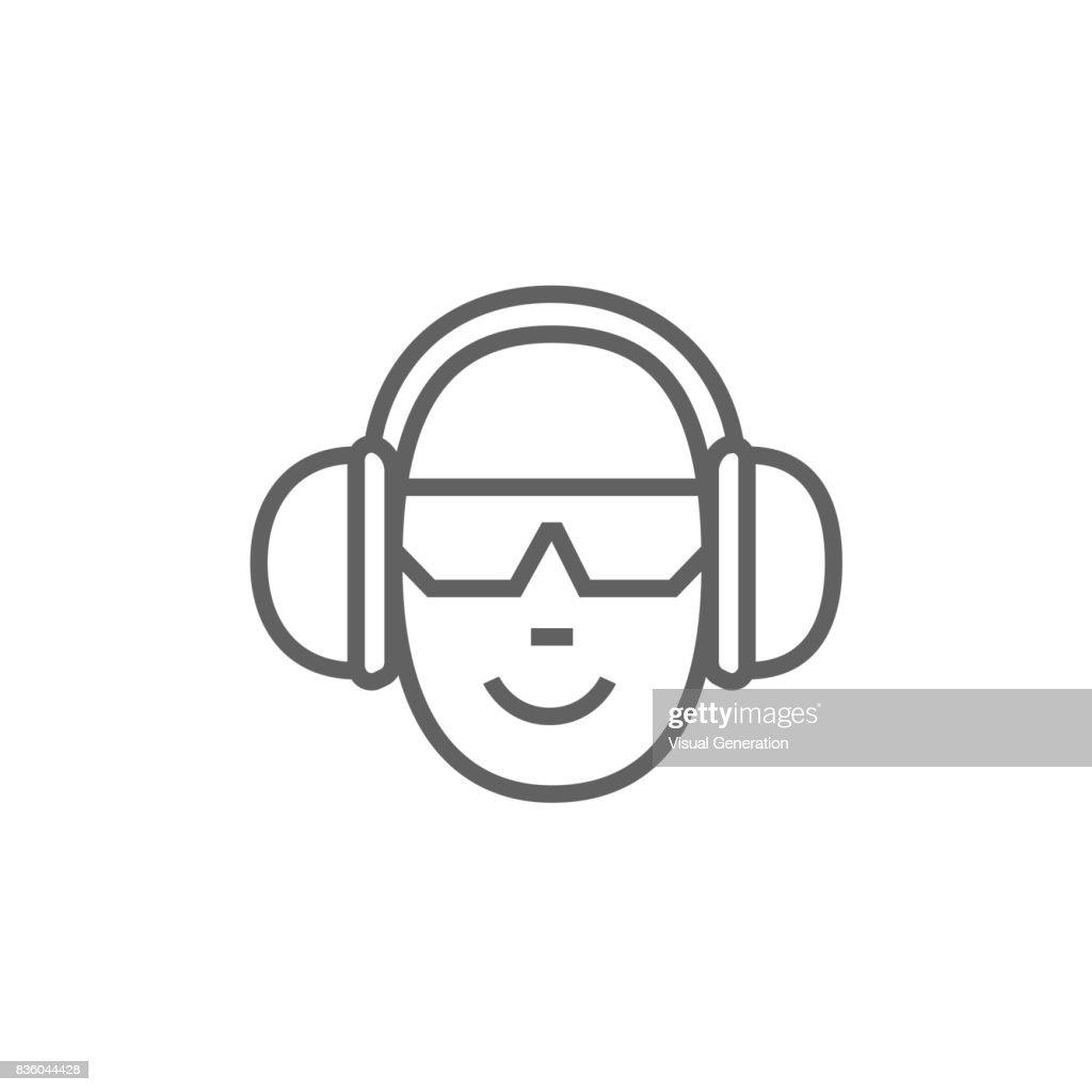 Man in headphones line icon