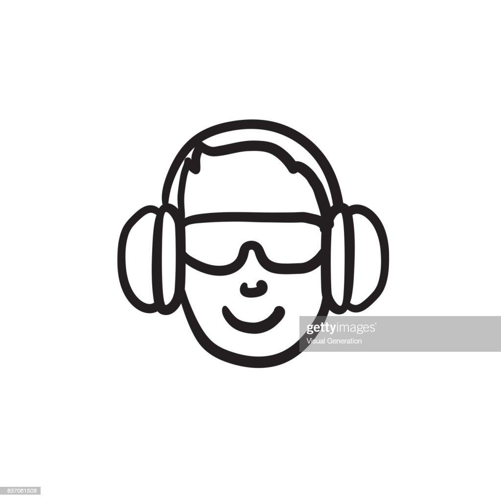 Man in headphones sketch icon