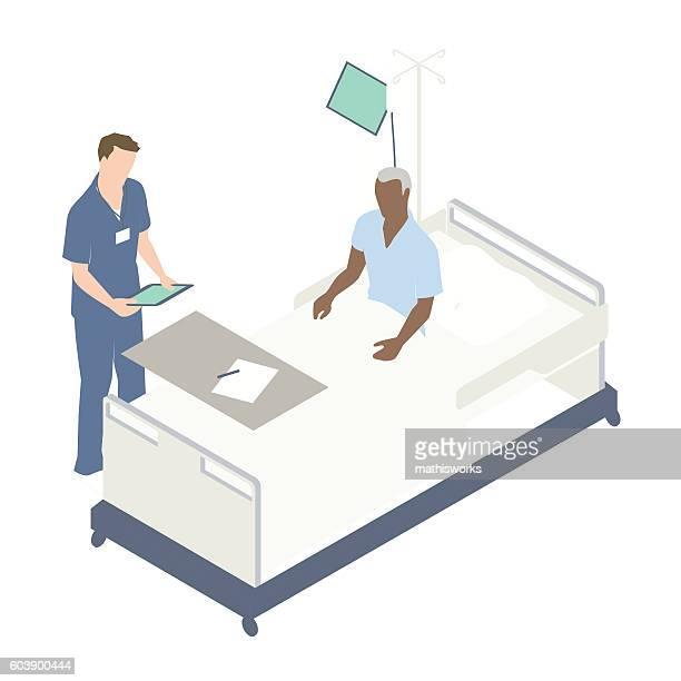 man in hospital bed illustration - mathisworks stock-grafiken, -clipart, -cartoons und -symbole