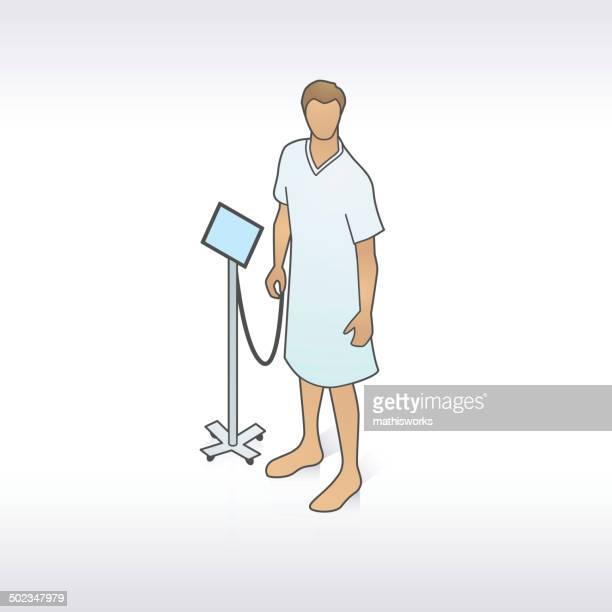 stockillustraties, clipart, cartoons en iconen met man in hospital gown illustration - mathisworks