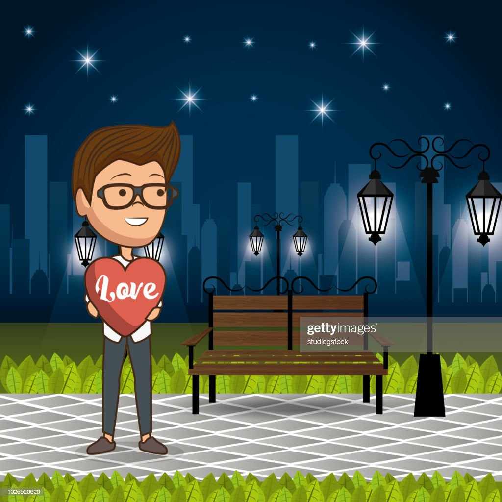 man in love in the park at night