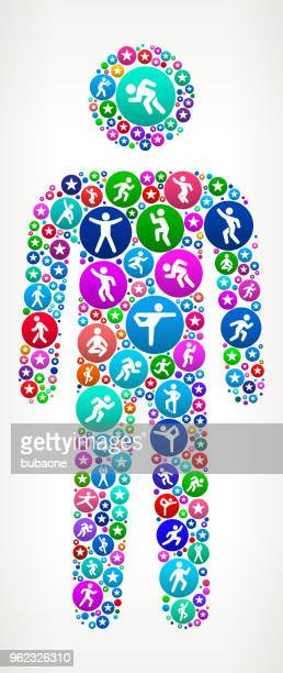 man in motion fitness icon pattern background - cardiovascular exercise stock illustrations, clip art, cartoons, & icons