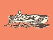 Man in Motorboat