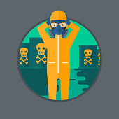 Man in radiation protective suit