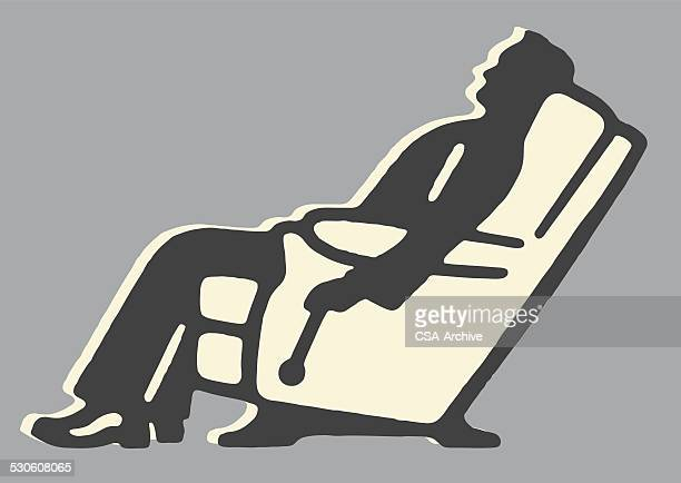 man in recliner - relaxation stock illustrations, clip art, cartoons, & icons