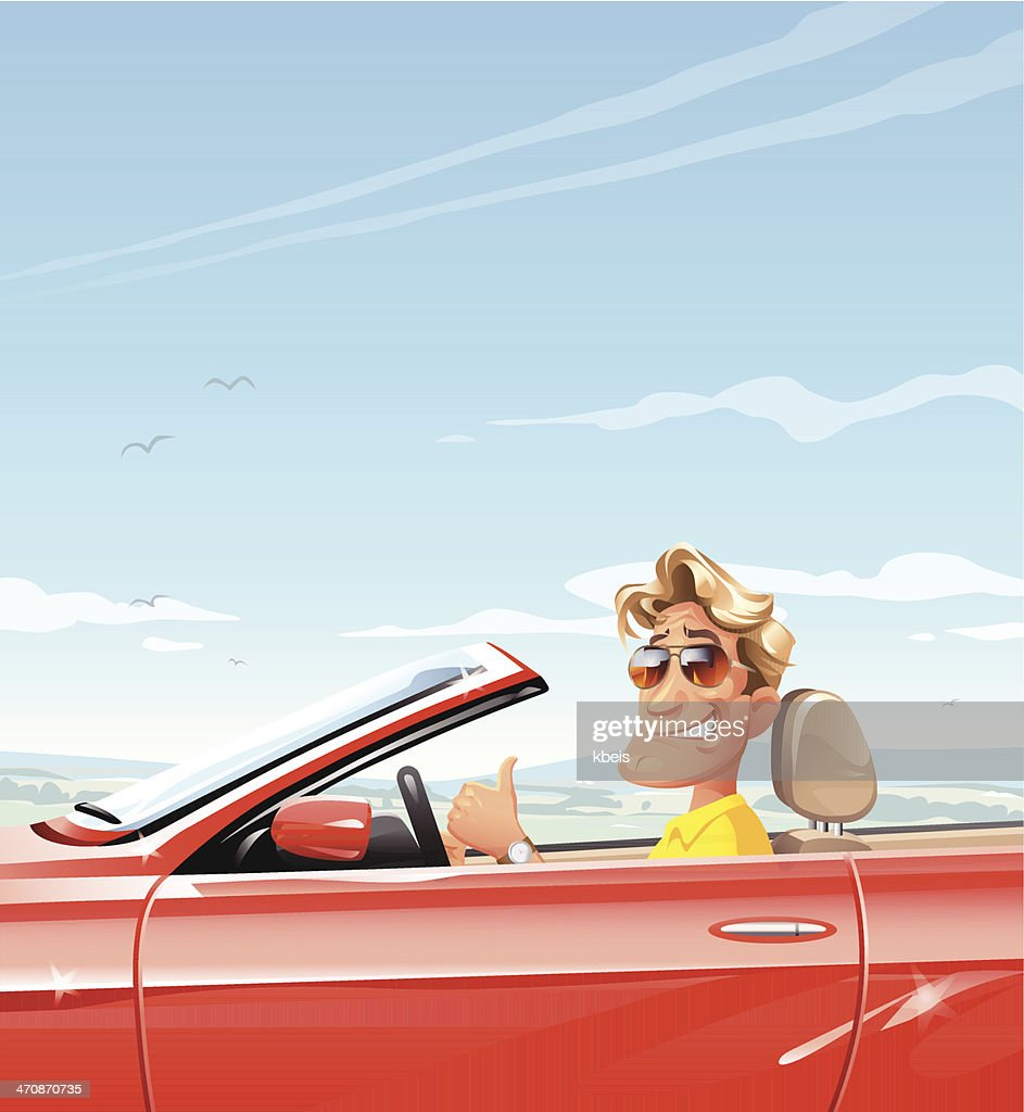 Man in Red Convertible