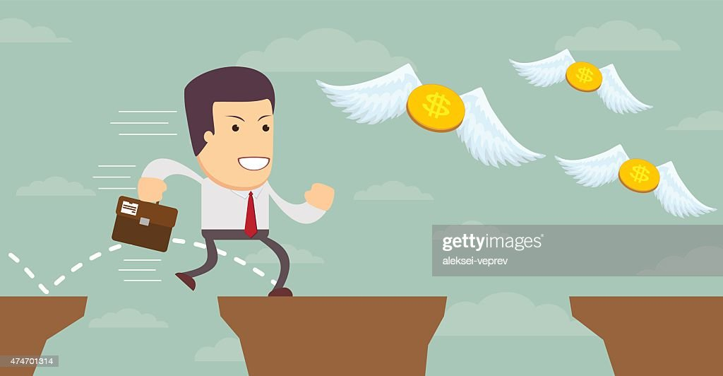 Man in search of money. Stock Vector illustration