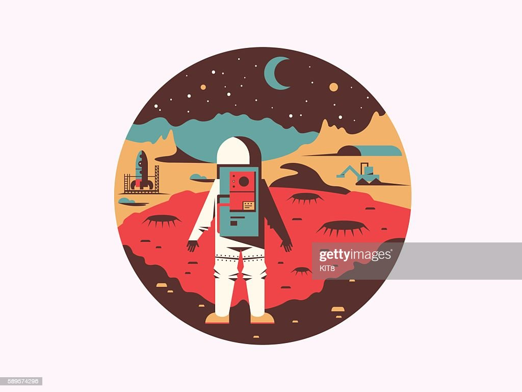 Man in space on unknown planet
