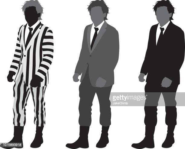 man in striped suit silhouette - striped suit stock illustrations