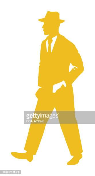 man in suit and hat - fedora stock illustrations