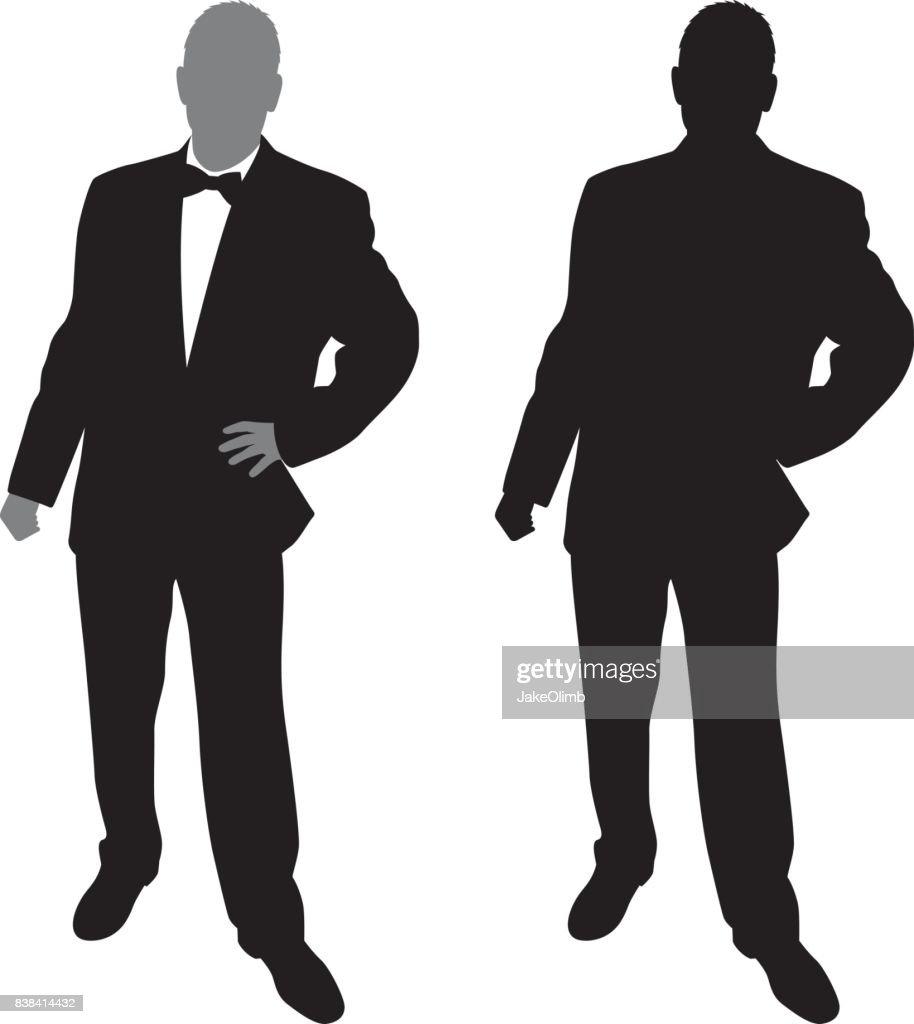 Man in Suit Posing Silhouette : stock illustration