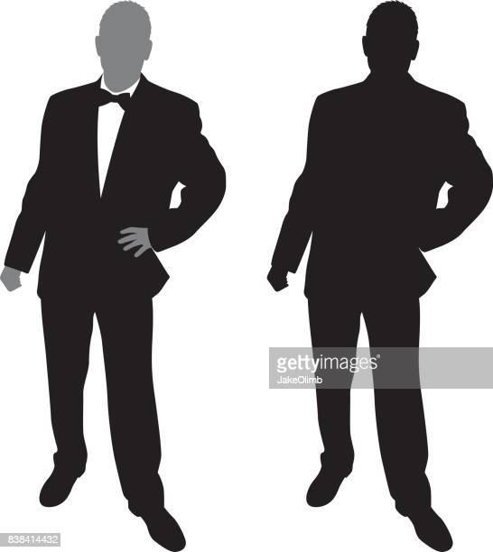 Man in Suit Posing Silhouette