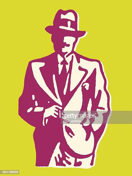 Man in Suit Smoking Cigarette