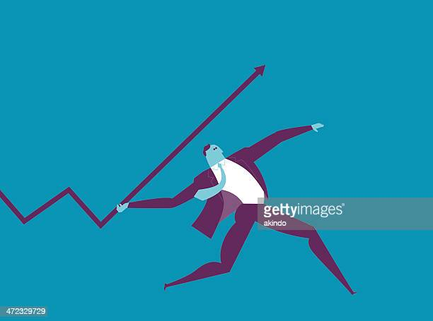 man in suit with javelin - javelin stock illustrations