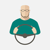 A man in sweater and glasses is driving a car. Vector illustration.