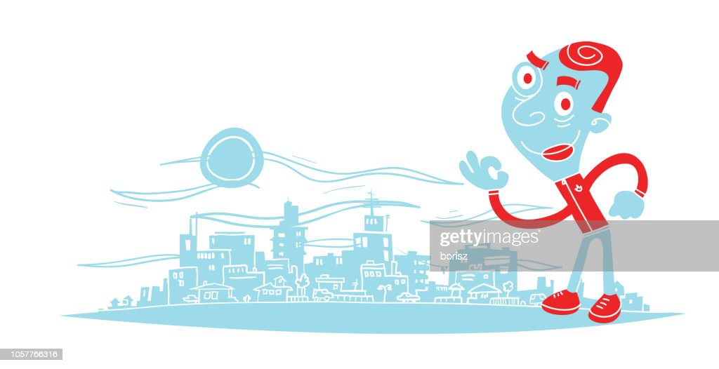 Man in the big city : stock illustration