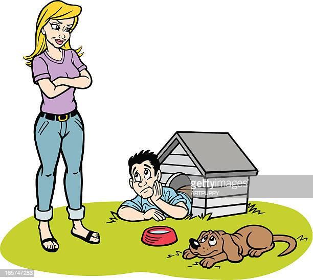 ilustraciones, imágenes clip art, dibujos animados e iconos de stock de hombre de historieta doghouse en - caseta de perro
