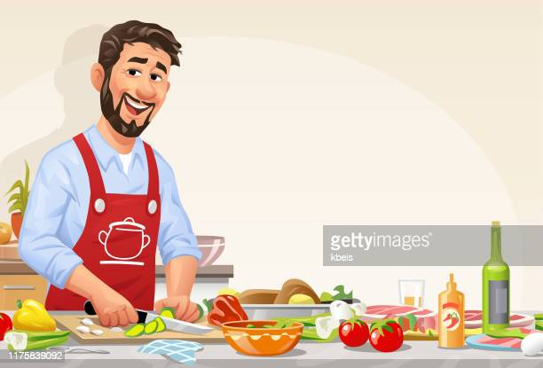 台所で食事を準備する男 - 調理する点のイラスト素材/クリップアート素材/マンガ素材/アイコン素材