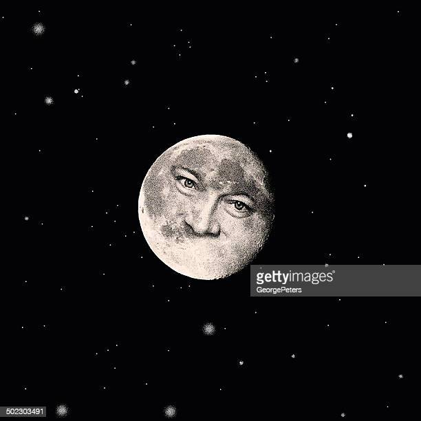 man in the moon - man in the moon stock illustrations, clip art, cartoons, & icons