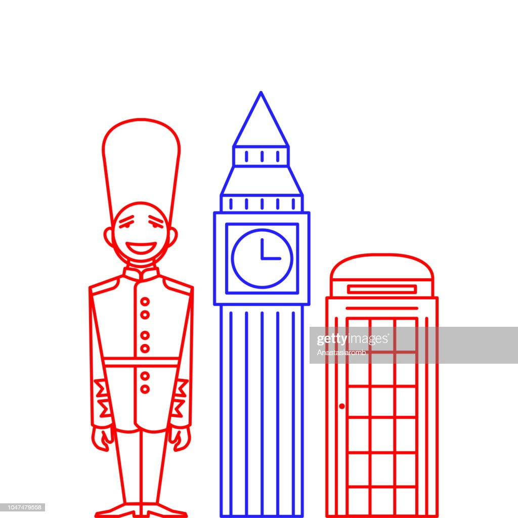 Man in Traditional Uniform, British Guard Soldier in line style. Outline landmarks Big Ben and telephone booth