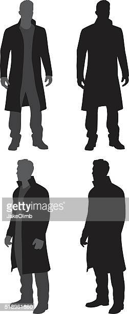 man in trench coat silhouettes - overcoat stock illustrations