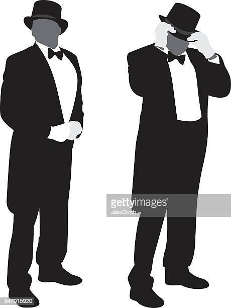 man in tuxedo silhouettes - tail coat stock illustrations