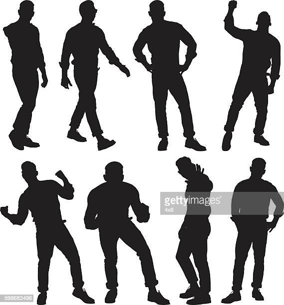 man in various actions - ecstatic stock illustrations