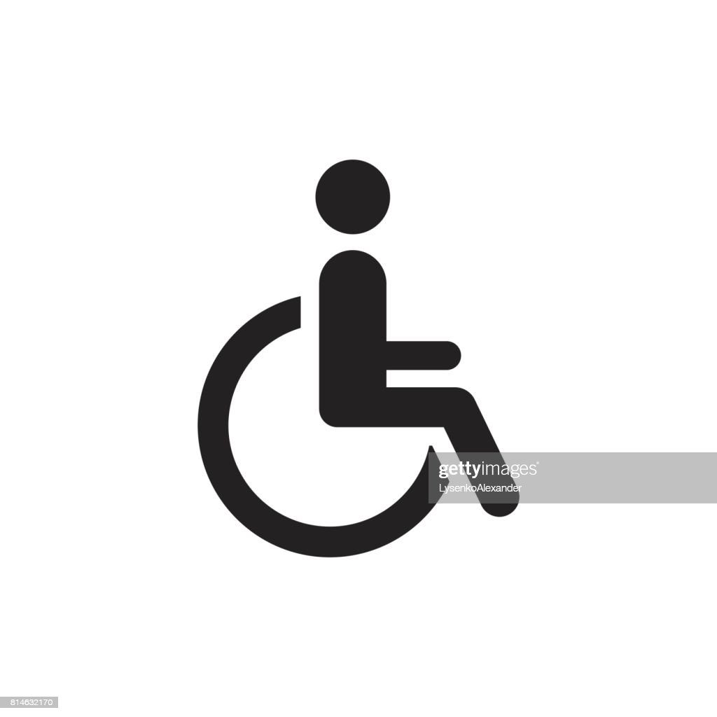 Man in wheelchair vector icon. Handicapped invalid people sign illustration.