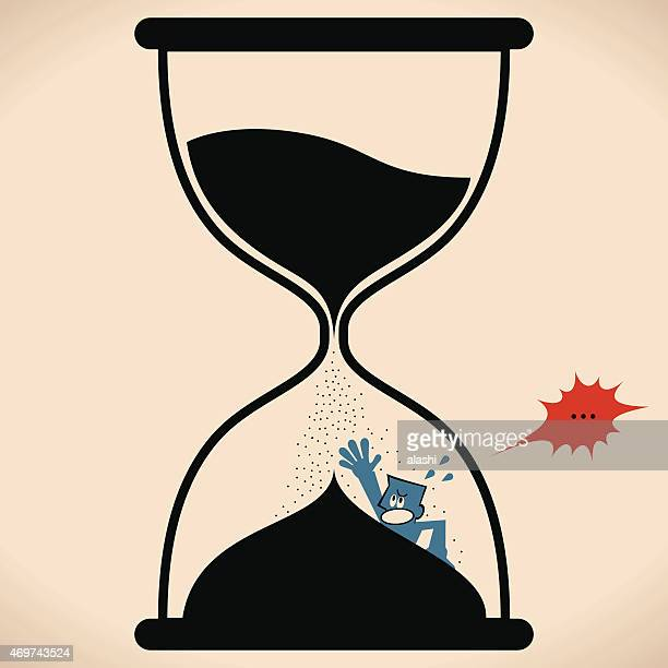 Man inside hourglass ( flooded in sand clock), time running out