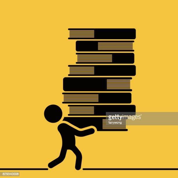 ilustrações, clipart, desenhos animados e ícones de homem carrega uma alta pilha de livros - livraria