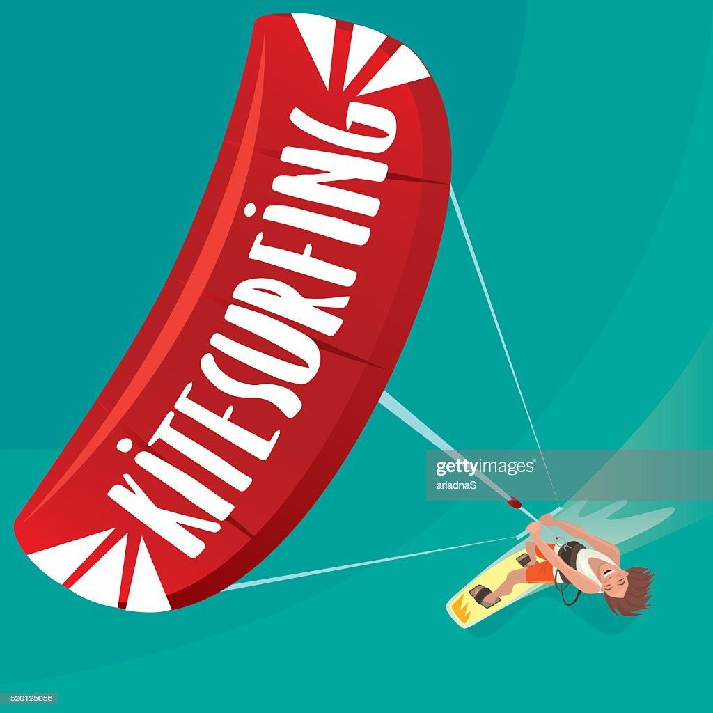 Man is engaged in kitesurfing