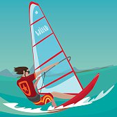 Man is engaged in windsurfing
