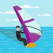 Man is engaged in windsurfing.