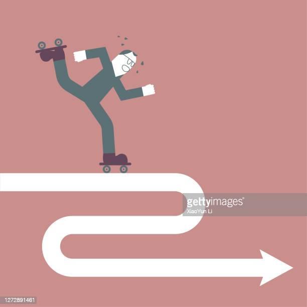 ein mann ist rollschuhaufnimmte auf dem pfeilsymbol. - angriffsspieler stock-grafiken, -clipart, -cartoons und -symbole