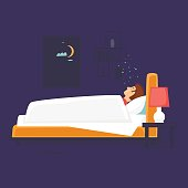 Man is sleeping in bed. Flat design vector illustration.