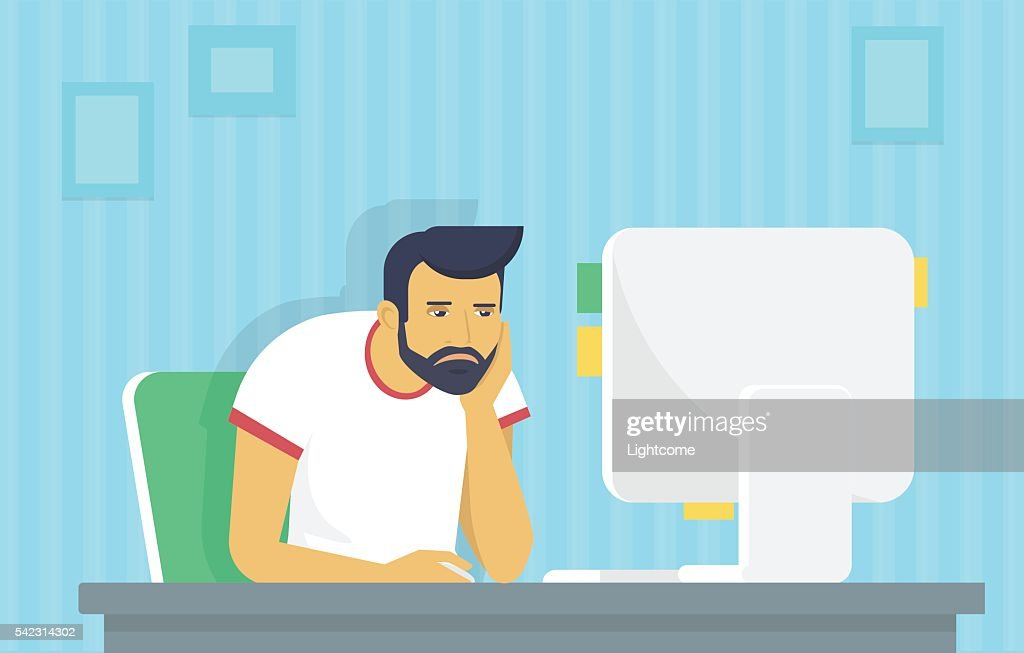 Man is working with computer