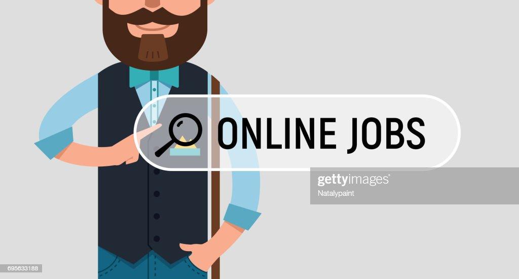 Man is writing ONLINE JOB on virtual screen.