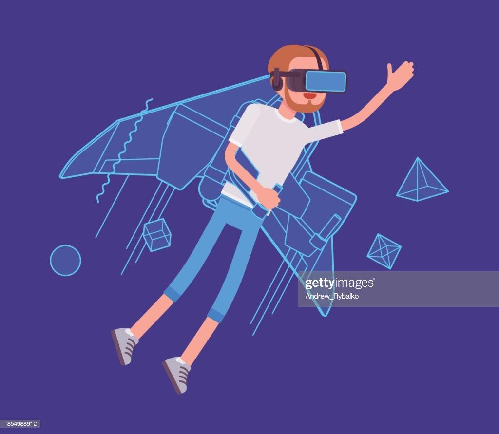 VR man jetpack flying