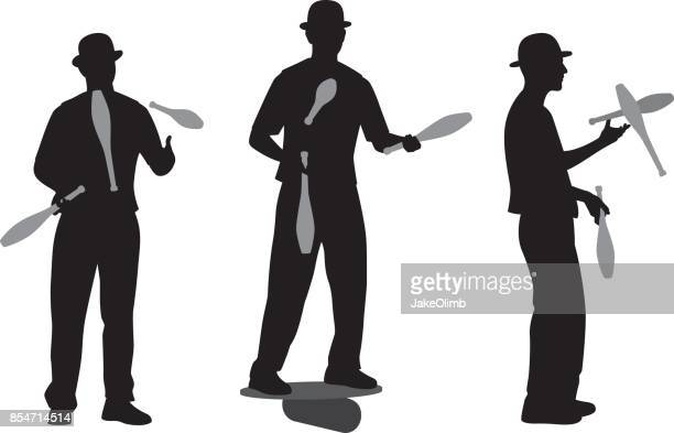 man juggling pins silhouette - juggling stock illustrations, clip art, cartoons, & icons
