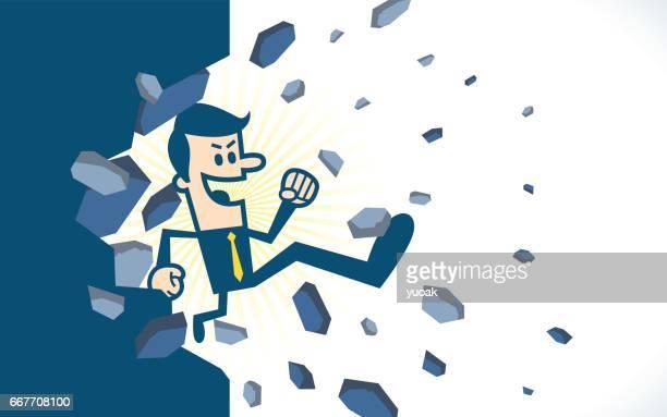壁を壊す男ジャンプ