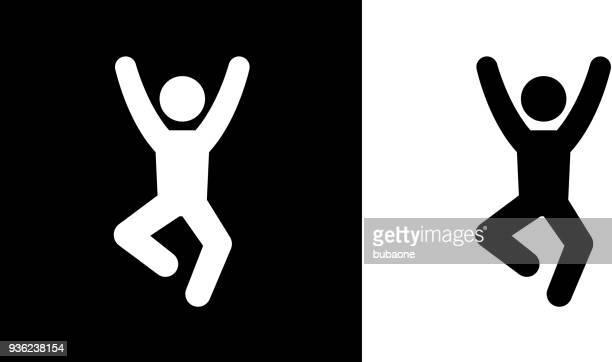 男の喜びアイコンでジャンプ - 棒人間点のイラスト素材/クリップアート素材/マンガ素材/アイコン素材