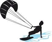 man kitersurfing silhouette vector illustration