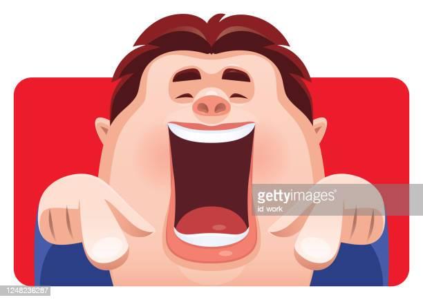 笑って前を指差す男 - 悲鳴を上げる点のイラスト素材/クリップアート素材/マンガ素材/アイコン素材