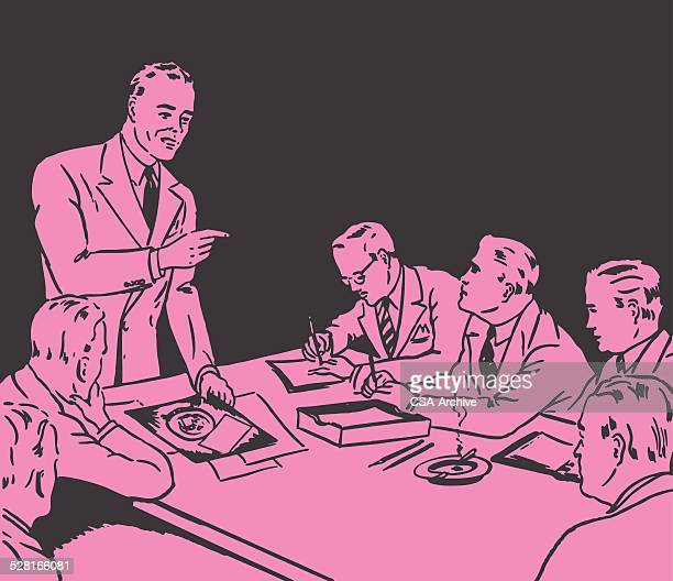 man leading a meeting at work - only men stock illustrations