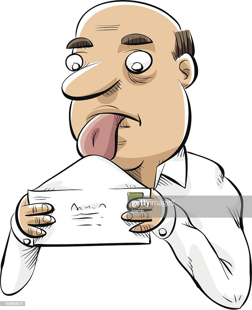 Man Licking Envelope : stock illustration